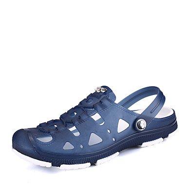 SHOES-XJIH&Uomini sandali estivi Comfort Slingback PU outdoor casual scarpe da acqua tacco piatto piattina intrecciata rosso grigio nero,Black,US8 / EU40 / UK7 / CN41