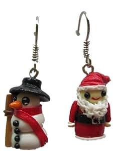 Pendientes colgantes pendientes Teubner Papá Noel y muñeco Navidad enanos Mini 942