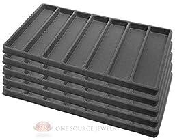5 Gray Insert Tray Liners W/ 7 Slot Each Drawer Organizer Jewelry Displays