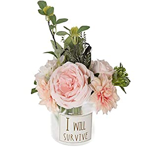 TINGOR Artificial Dahlia Rose Peony Flowers, Mixed Flower Bouquet for Wedding, Bride, Bridesmaid Home Table Decoration (Light Pink) 50