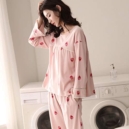 Size Ropa Rosa Dormir Pijamas Linda Xxl Mujer Deportiva Algodón color Moda Manga Pink Suelta Conjunto De Pink Larga Casa qqawHA