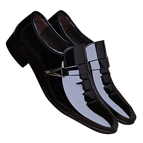 Poplover Men's Pointed Toe Dress Shoes Slip on Oxfords Black 6vuopTY8