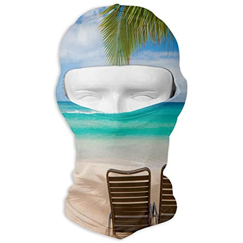 Balaclava Hawaiian Beach with Two Lounge Chairs Full Face Masks Ski Sports Cap Motorcycle Hood for Cycling Sports Snowboard