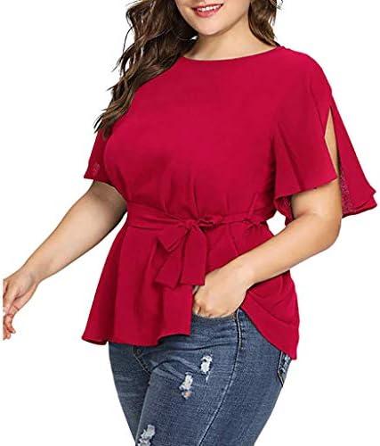 [해외]JKioleg Women`s Plus Size Casual Solid T Shirts Loose Belted Knot Short Sleeve Shirt / JKioleg Women`s Plus Size Casual Solid T Shirts Loose Belted Knot Short Sleeve Shirt