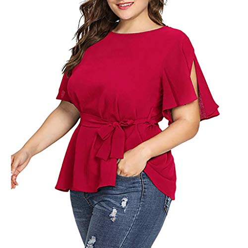 CCSDR Women's Fashion Solid Plus Size Short Sleeve Shirt Belted Knot Peplum Blouse Tops Red