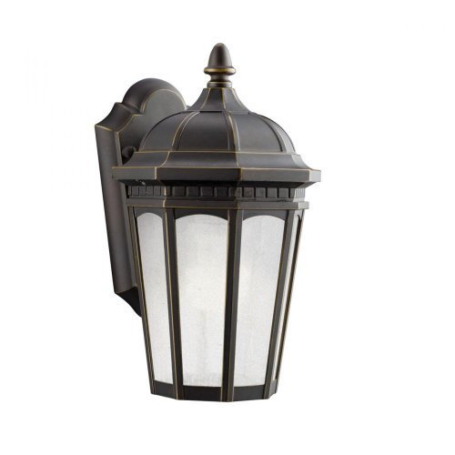 Kichler Lighting 11010RZ Courtyard 1-Light Fluorescent Outdoor Wall Mount Lantern, Rubbed Bronze with Etched Seedy Glass by...