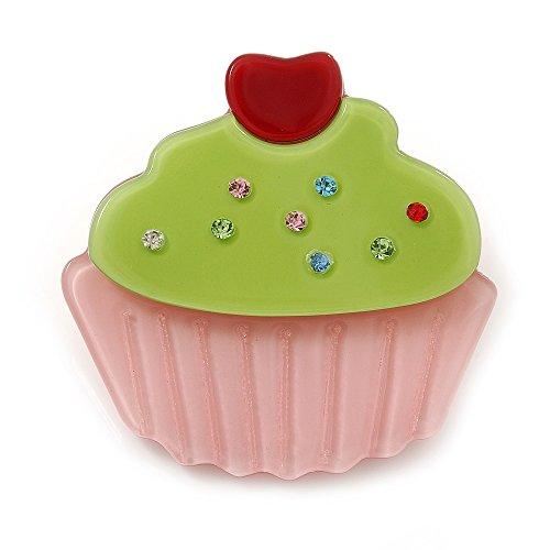 Avalaya Baby Pink/Lime Green Austrian Crystal Acrylic 'Cupcake' Pin Brooch - 40mm - Crystal Lime Pin