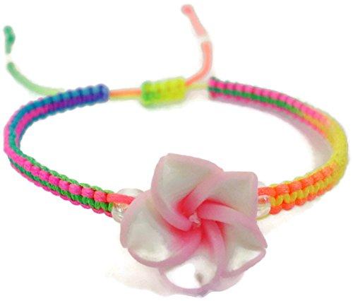 Mm 15 Pendant Plumeria (Moose546 Plumeria Braided Bracelets with a Sliding Knot Adjustable Cord Bracelets for Children FC-045)
