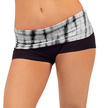 Women's Fold Over Tie Dye Waist Fitted Stretch Knit Activewear Lounge Shorts