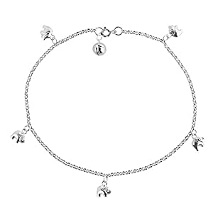 Adorable Shiny Elephant Jingle Bell Charm .925 Sterling Silver Anklet