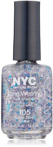 N.Y.C. New York Color Long Wearing Nail Enamel, Starry Silver Glitter, 0.45 Fluid Ounce