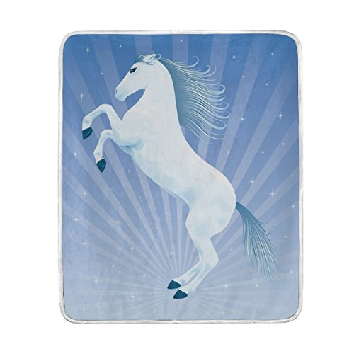 (ColourLife Soft Blanket Throw Cozy Warm Flannel Fleece Blanket for Kids Women Bed Sofa Couch Beach 50x60 inches Beautiful Horse Rising Up On His Hind Legs)