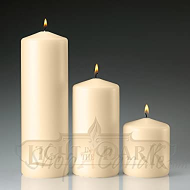Set of 3 Ivory Pillar Candles 3x3 3x6 3x9 Made in USA