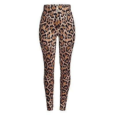 Orangeskycn Women Skinny Pants Stretch Leopard Print Elastic Waist Trousers