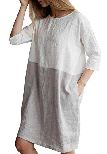 100% Linen Dress (LD Womens Summer Color Block Cotton Linen 3/4 Sleeve Loose Tunic Dress White L)