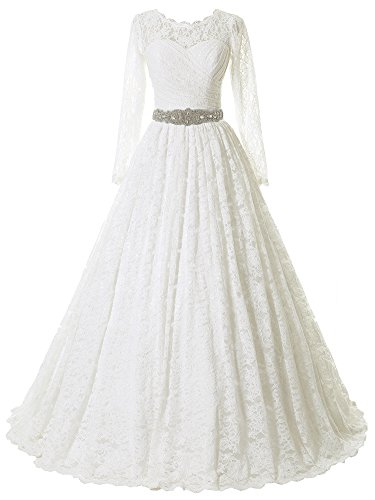 Solovedress Women's Ball Gown Lace Princess Long Sleeves Wedding Dress Sash Beaded Bridal Gown (US 20 Plus,Ivory) Beaded Bridal Gowns