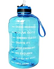 QuiFit Gallon Sport Water Bottle Wide Mouth with Straw Lid Easy Sipping 3.78/2.2/1.3 Liter Motivational Time Marker Water Jug Encourage You Drinking Enough Water Throughout The Day