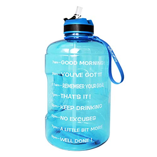 QuiFit Gallon Water Bottle with Straw and Motivational Time Marker BPA Free Easy Sipping 128/73/43 oz Large Reusable Sport Water Jug for Fitness and Outdoor Enthusiasts (Sky Blue,73 oz)