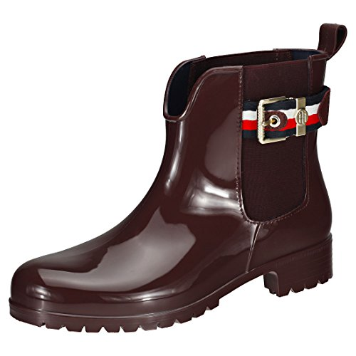 Tommy Hilfiger Corporate Belt Rain Womens Wellington Boots Chocolate - 39 EU