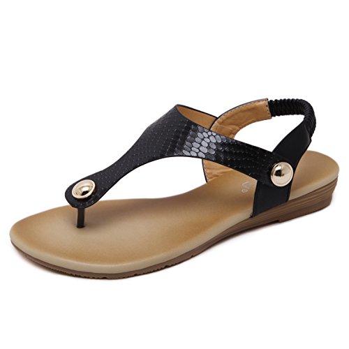 Dolphingirl Zomer Glitter T Band Platte Sandalen Prime Eenvoudige Leren Riem Glitter Schoenen Zwart 297