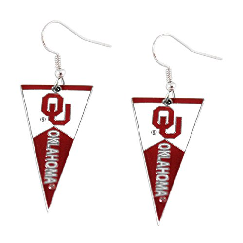 NCAA Oklahoma Sooners Pennant Earrings, Team Color, 2.5