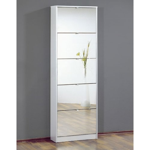 Tall Mirrored White Shoe Cabinet With Five Drawers, 3614 84 [3614 84