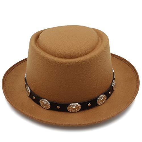 Pork Pie Fur Felt (Women's Felt Fedora Pork Pie Hat Cashmere Flat Homburg Godfather Top Caps with Fashion Bowknot Great (Color : Khaki, Size : 56-58cm))