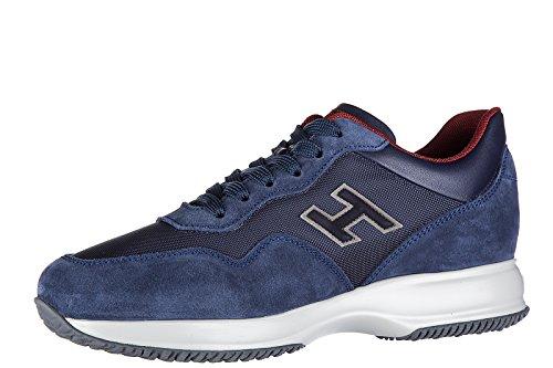 Hogan scarpe sneakers uomo camoscio nuove interactive h flock blu