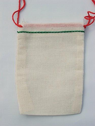 Celestial Gifts Borse Mussola di Cotone con Un Verde e Rosso Orlo di Pizzo 7x9.5 cm 50 Pezzi minixms50