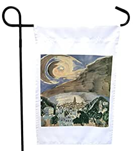 Rikki Knight Walter Gramatte Art Moon Over Barcelona House or Garden Flag with 11 x 11-Inch Image, 12 x 18-Inch