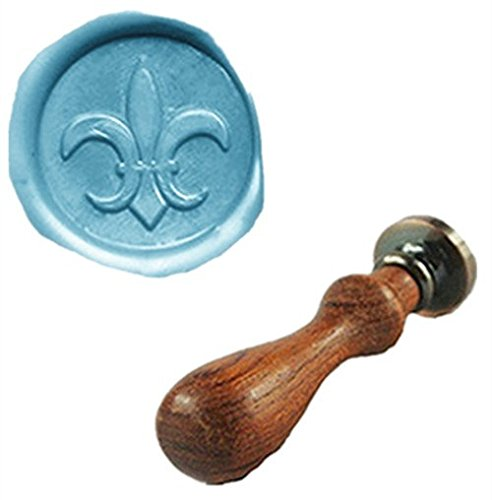 Vintage Fleur-de-lis Custom Picture Logo Wedding Invitation Wax Seal Sealing Stamp Rosewood Handle Set