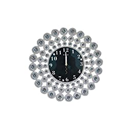 White Crystal Decorative Wall Clock The Living Room Bedroom Living Room Wall Clock, Wall Clock, Fashion Watches, Watches Mute Simple Personality,White