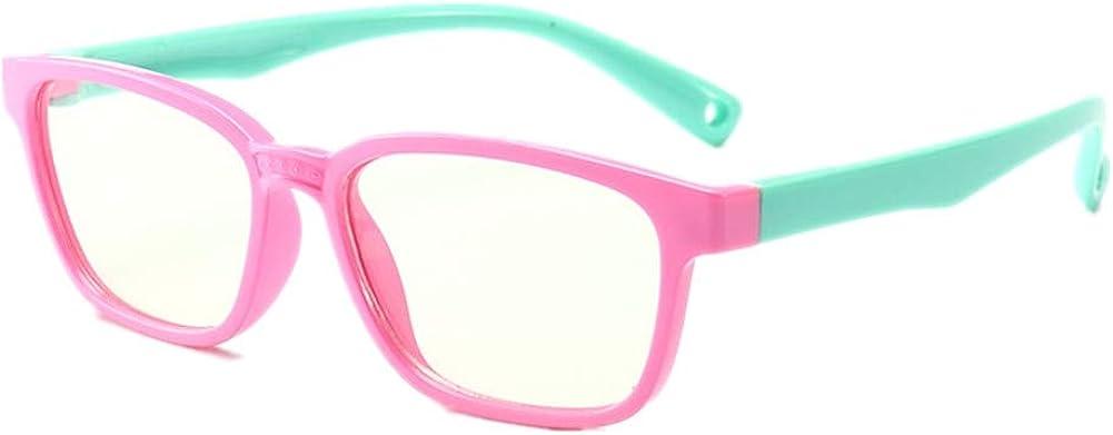 Shiratori Kids Childrens Anti-Blu-ray Glasses Nerd Retro Silicone Clear Lens Eye Glasses Soft Frame