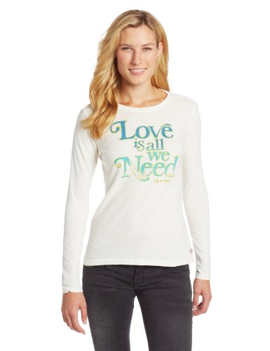 Life is good Women's Creamy Love All Need Long Sleeve Tee, Simply Ivory, X-Small