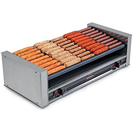 TableTop King 8045SXW SLT 220 Wide Slanted Hot Dog Roller Grill With GripsIt Non Stick Coating 45 Hot Dog Capacity 220V