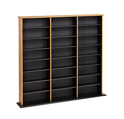 Oak Standard Cabinet - Prepac Triple Width Wall  Storage Cabinet, Oak and Black