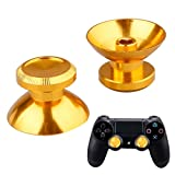 A-szcxtop Aluminum AlloyMetal Analog Thumbsticks for PS4,Thumb Sticks Joystick Replacement Cap Cover for PS 4 Play Station Xbox One Accessories Bullet Button -Gold