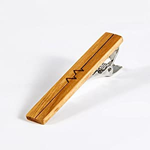 WOOD MEETS COLOR Exquisite Mens Wood Tie Clip, Unique Gift to Lover, Fashion Necktie Clip for Regular Ties 2 Inches