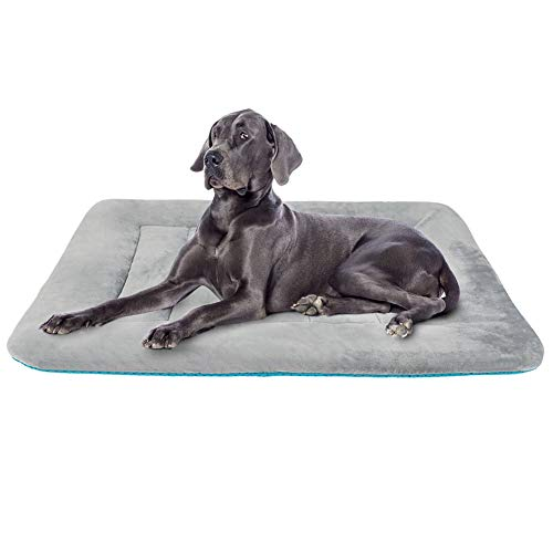 Dog Bed Mat 100% Washable Fleece Mattress Grey L, Anti Slip Crate Pad for Large Medium Small Pets