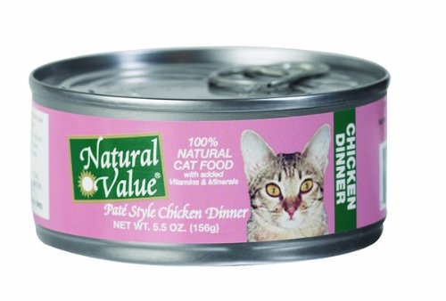 Natural Value Cat Food, Pate Style Chicken Dinner, 5.5-Ounce Cans (Pack of 24), My Pet Supplies