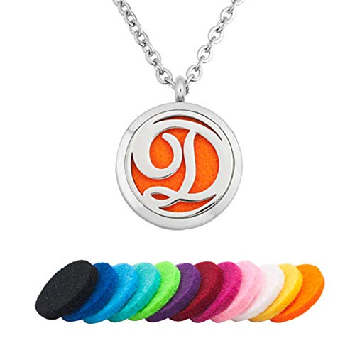 EV.YI Jewels Name Monogram D Perfume Locket Pendant Best Diffuser Necklace for Essential Oil Aromatherapy Jewelry for Women Men with Refill Pads
