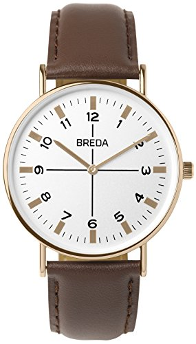 BREDA Men's 'Belmont' 1646p Slim Rose Gold Round Fashion Analog Display Quartz with Brown Leather Strap Wrist Watch, 41mm