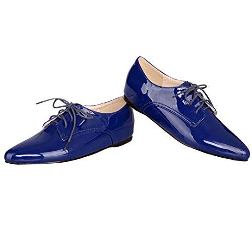 AIYOUMEI Flache Pumps mit Schnürung Freizeitschuhe Damen Lace up Shoes Blau