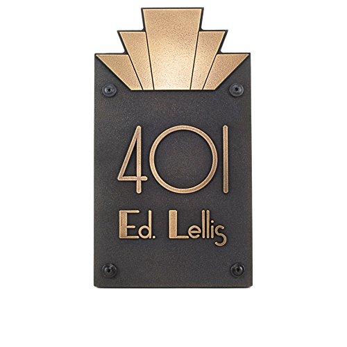 Moderne Art Deco Address Plaque Vertical 8x14 - Raised Brass Patina ()
