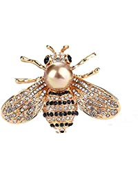 a8382fbc43a TULIP LY Honey Bee Brooches Crystal Insect Themed Bee Brooch Animal Fashion  Shell Pearl Brooch Pin