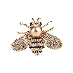 Shell Pearl Crystal Honey Bee Brooches