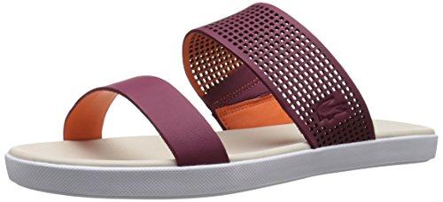 Lacoste Women's Natoy 216 1 Slide Sandal, Burgundy/Orange, 7 M US by Lacoste