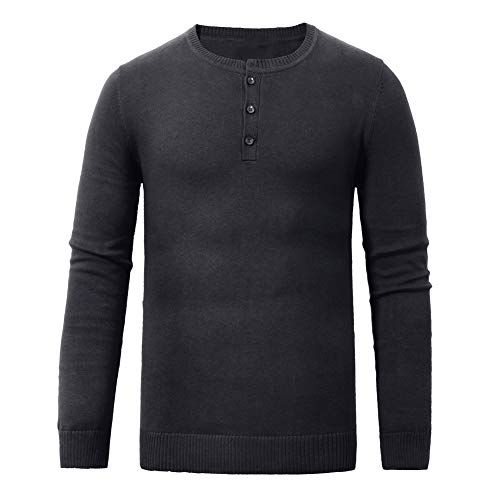 aoli ray Men's Knit Sweaters Slim Fit Henley Collar Button Long Sleeve Casual Pullover (Black, M) ()