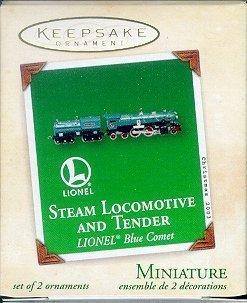Hallmark Lionel Steam Locomotive and Tender Blue Comet 2003 Miniature Ornament Set