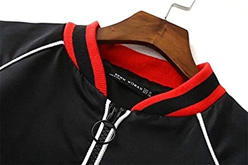 Lunghe Giacche Casual Pilot Donna Grün Ricamate Vintage Autunno Maniche Con Jacket Giacca Eleganti Coat Cerniera Bomber Moda r86wnqraO